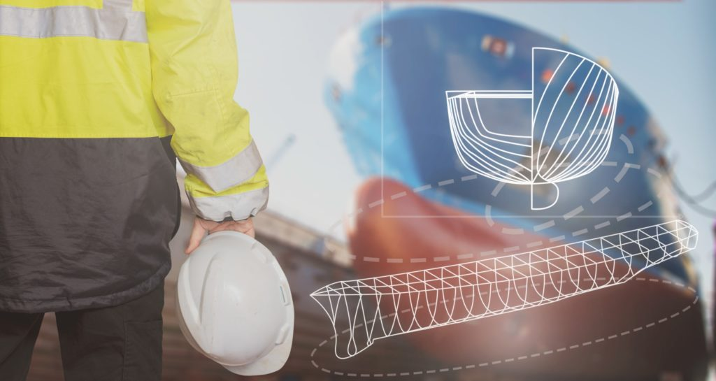 Ship designer standing in drydock w/ ship's bow in the background. White cad/cam design outlines superimposed on image