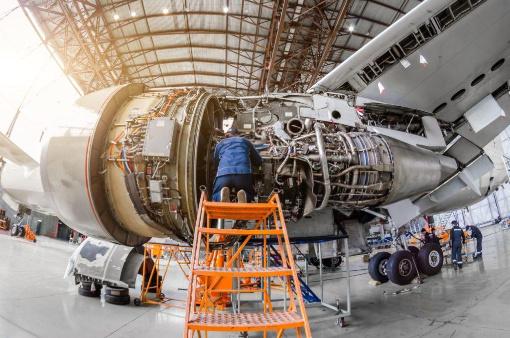 Image of plane engine maintenance