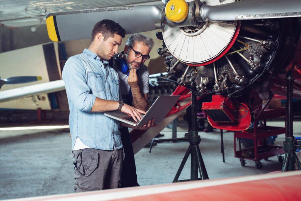A plane engine undergoing maintenance