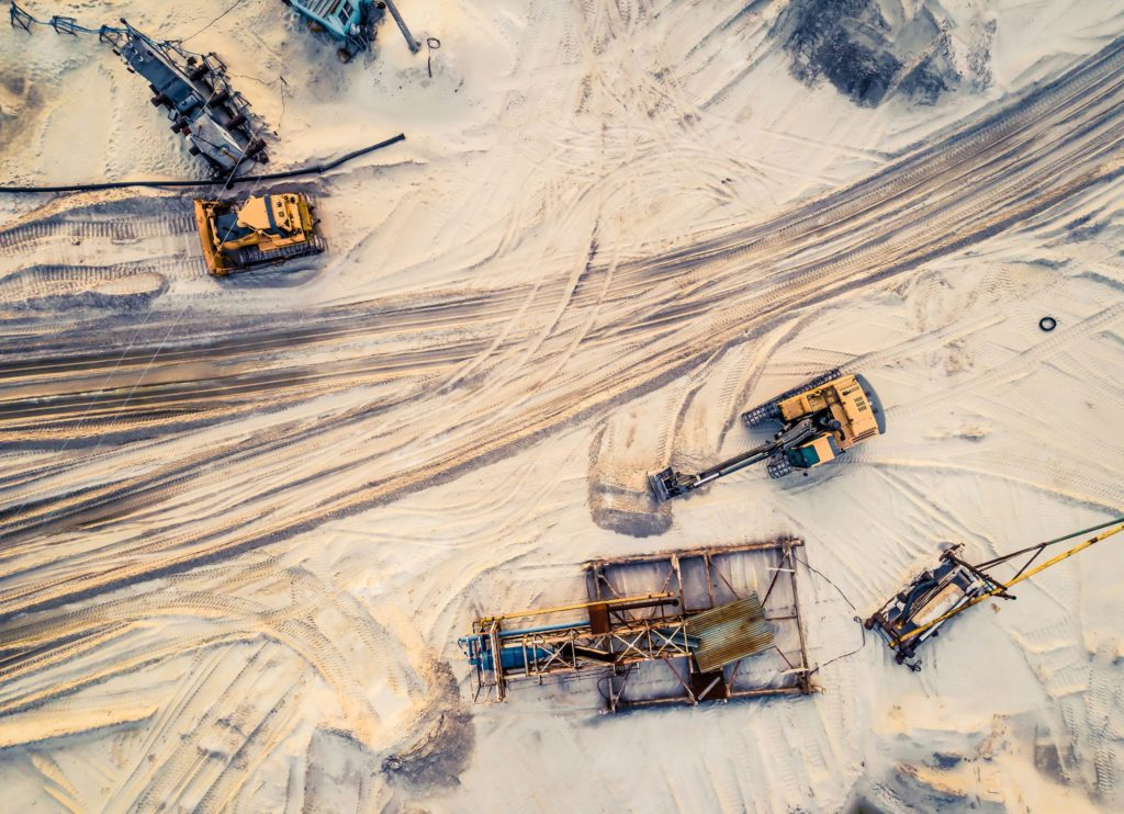 overhead view on a sand construction site