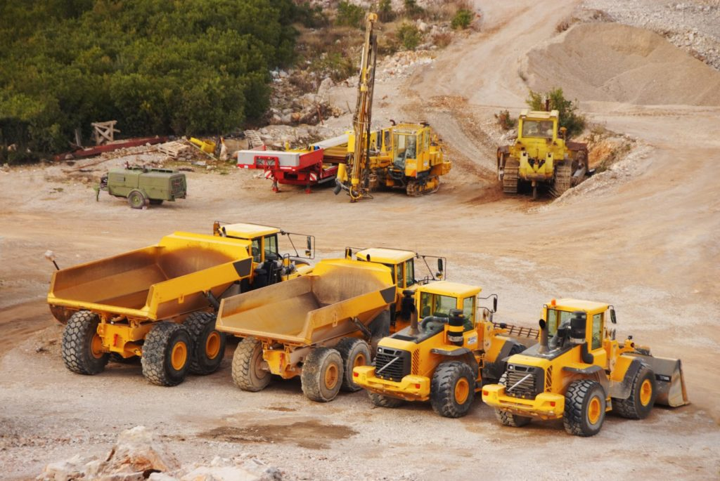 large industrial earth moving vehicles