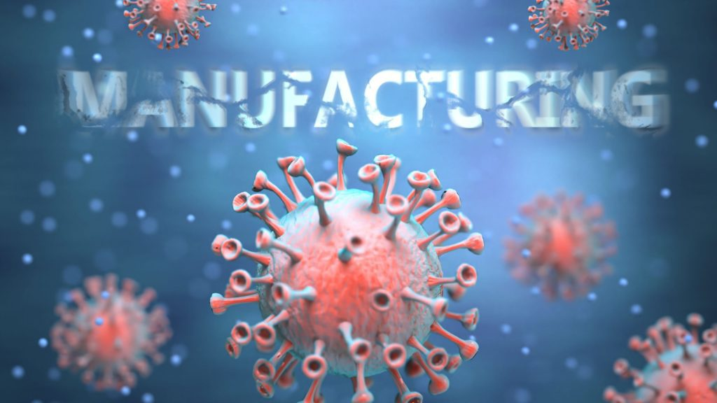 """Image of COVID 19 virus with """"Manufacturing"""" in the background"""