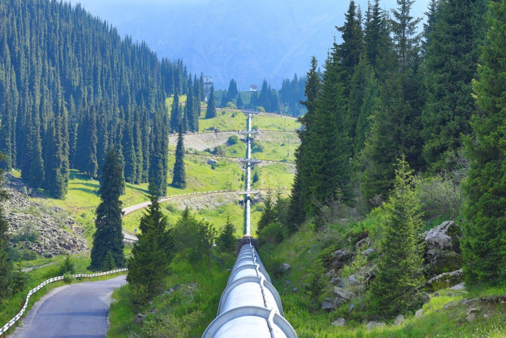 large pipeline crossing through a clearing of trees