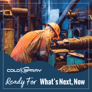 An ad image of a Cold Spray technician emphasizing that VRC metals is always ready for what's next, now