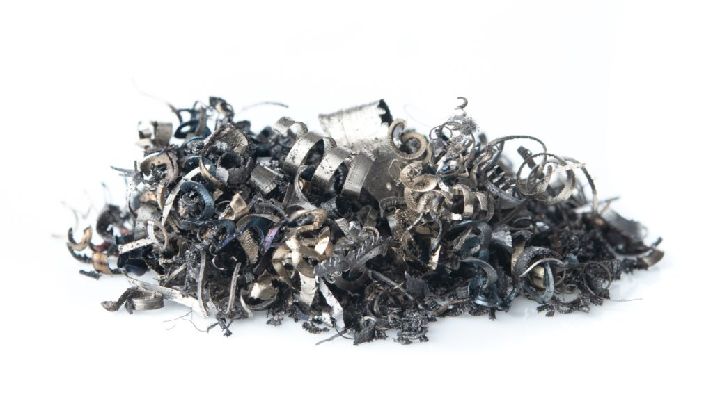 Pieces of metal waste and scrap metal.