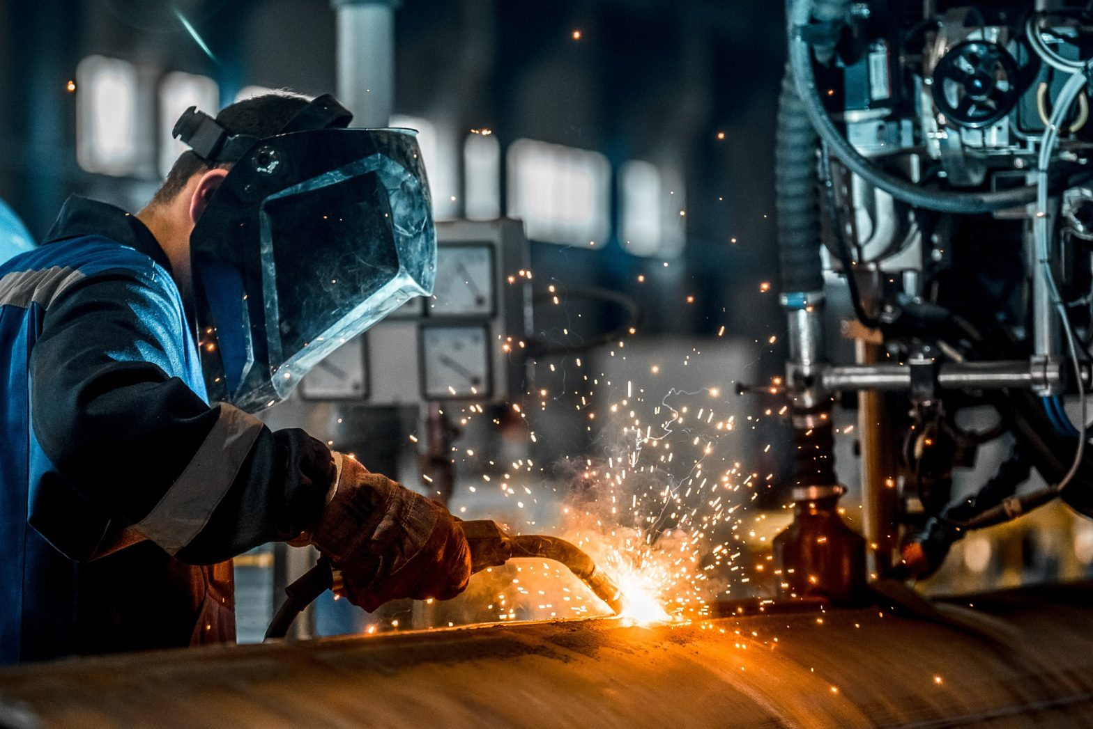 sparks fly during metal work
